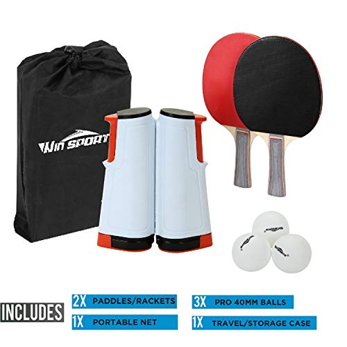 Win SPORTS Ping Pong Paddle Set with Retractable Net Set of Play Anywhere Ping Pong Net for Any Table,2 Table Tennis Paddle& Rackets,3 Balls,Storage Case Set with Retractable Table Tennis Net