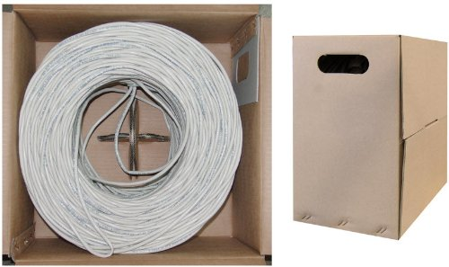 C&E 1000 feet CAT 5E 24AWG 4PR UTP Plenum Solid Ethernet Cable CMP Rated White