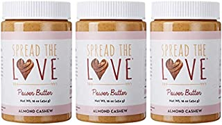 product image for Spread The Love Almond Cashew Power Butter, 16 Ounce (All Natural, Vegan, Gluten-free, No salt, No sugar, No palm-oil, No-GMOs) (3-Pack)