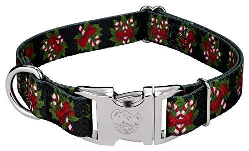Country Brook Petz - Premium Black Candy Cane Deluxe Dog Collar - Christmas Collection with 13 Designs (Medium)
