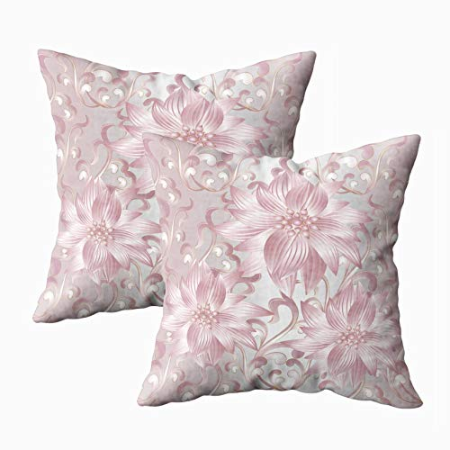 (Musesh 18x18 Pillow Cases, Pack of 2 Flowers Pattern Vintage Silver Floral Background with Pink Abstract Scroll Leaves and Antique Ornaments for Sofa Home Decorative Pillowcase Throw Pillow Covers)