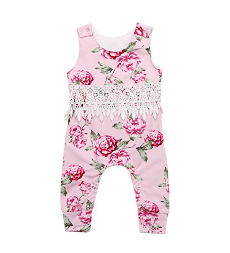 Infant Girls Halter (Ma&Baby Baby Girls Halter One-pieces Romper Jumpsuit Sunsuit Outfit Clothes 0-24M (12-18 Months, Pink))
