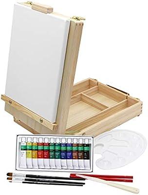 Caballete de mesa + set de pintura, 12 colores acrílicos, set de ...