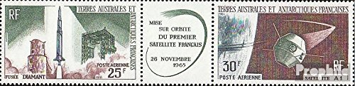 Französ. Areas Antarctica 33-34 Triple Strip (Complete.Issue.) 1966 French Satellite (Stamps for Collectors) Space