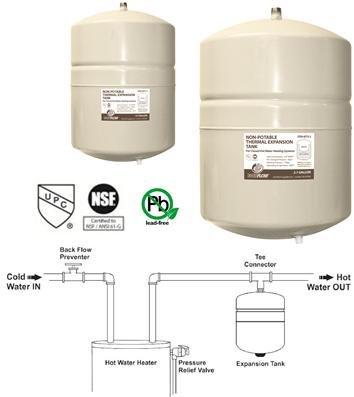 Everflow Thermal Expansion Tank, 4.7 GAL Potable Water Expansion Tank, - Expansion Tank Thermal