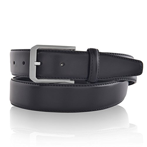 Mens Genuine Leather Stitch Belts Uniform Designer Black 34 (Stitch Leather Dress Belt)