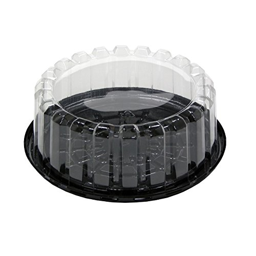 Pactiv YEH8-9702, 7-Inch Plastic Black Base Cake Container With Clear Shallow Dome Lid, Take Out Catering Pastry Display Box (50)