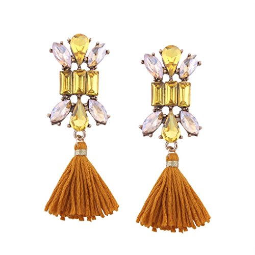 Staron Bohemian Rhinestones Dangle Stud Earrings Women Fashion Long Tassel Fringe Dangle Eardrop Jewelry - Fashion 5.00
