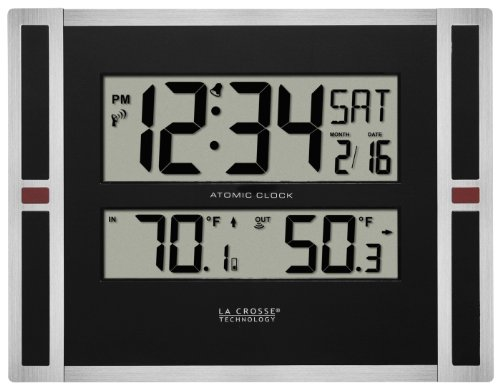 Live I Radio Clock - La Crosse Technology 513-149 11 inch Atomic Digital Wall Clock with Temperature, One Size, Black