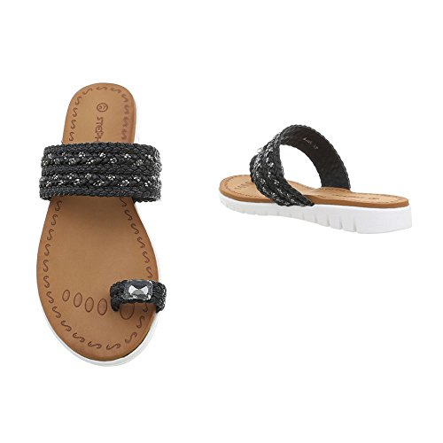 Design Zapatos Dedo A Mujer Vestir Sandalias 95 Sandalias Negro Ital para de Plano de 44wr7vq8
