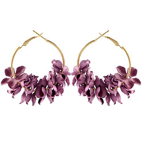 (Elegant Fabric Flower Drop Earrings For Women Bijoux Colourful Petal Alloy Ear Circle Big Earrings,ER5989)