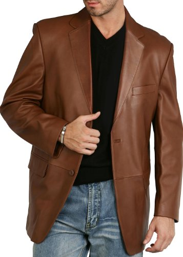 - BGSD Men's Richard Classic Two-Button Leather Blazer - L Cognac