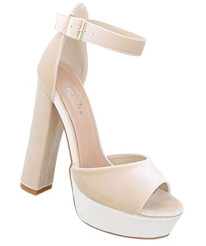 Damen Schuhe Sandaletten High Heels Plateau Pumps Beige