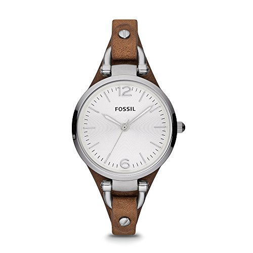 Fossil Women's Georgia Quartz Stainless Steel and Leather Casual Watch, Color: Silver-Tone, Brown (Model: ES3060)