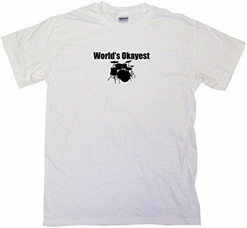 World's Okayest Drummer Drum Set Logo Women's Tee Shirt Large-White-Regular