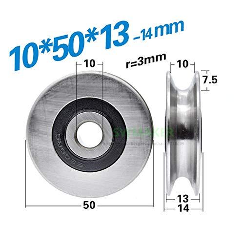 Fevas 1pcs 105013mm 6300RS Non-Standard Bearing Steel Bearing, U/V Type concave Wheel, Wire Rope Guide Wheel/Crane/Rolling Wheel - (Bore Diameter: r 3mm V Type)