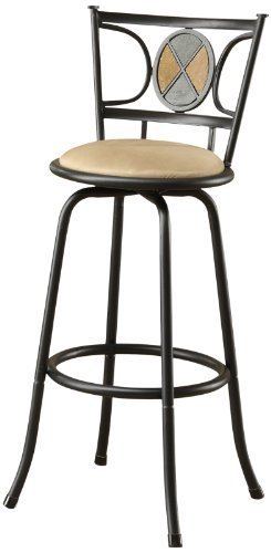 Poundex Rector Swivel Barstool with 24-Inch Height or 29-Inch Height Adjustable Height, Set of 2