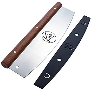 a Pizza Cutter by Kaio, Silver Mahogany Wooden Handle Cutter Pizza, Pizza Cutter Rocker Blade, 13.75
