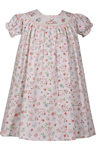 Bonnie Baby Smocked Easter Bunny Print Dress (3T) ()