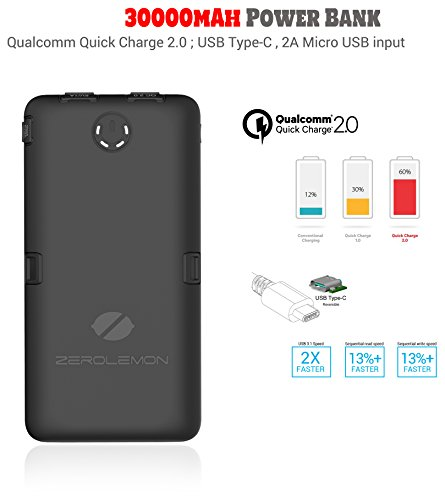 ZeroLemon ToughJuice 30000mAh QC 2.0/Type-C/USB-C 5 Outputs Power Bank, Dual Layer Rugged External Battery/Portable Charger for Apple MacBook, iPhone, Google Pixel XL, Samsung & More - Black