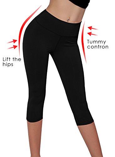 Splendor flying Women's Capri Legging Yoga Pants (Medium, Black)