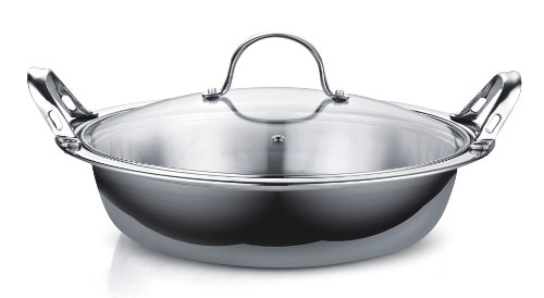 41tFNZ8NReL - Cooks Standard NC-00378 Multi-Ply Clad Stainless Steel Tagine with 2 Handle and Extra Glass Lid, 4.5-Quart