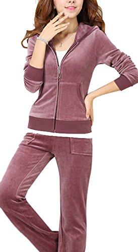 Uniquezone Women Ladies 2 Pieces Velour Sweat and Pants Tracksuit (2 Piece Cotton Sweater)
