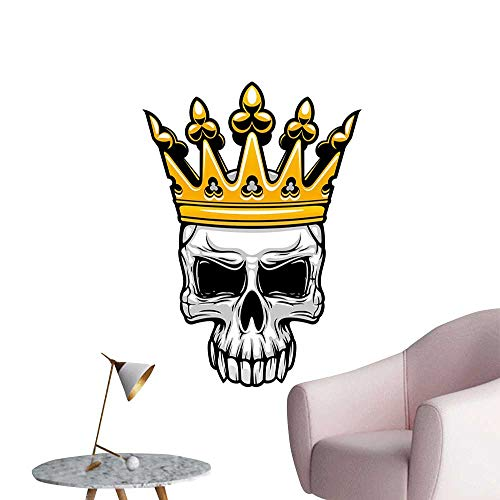 King Queen Size Wall Paintings self-Adhesive Hand Drawn Crowned Skull Cranium with Coronet Tiara Halloween Themed Image Living Room Wallpaper Golden and Light Grey W20 x H28]()