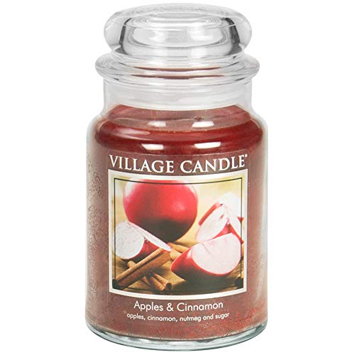 Village Candle Apples & Cinnamon 26 oz Large Glass Jar Scented Candle, Red