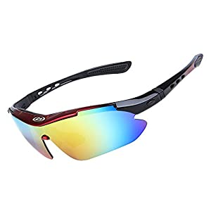 SINAIRSOFT Polarized Cycling Sunglasses Outdoor Sports Glasses with 5 Replacement Lenses (red& black, 10.9)