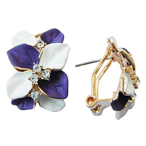Navachi 18k Gold Plated Crystal White Purple Enamel Leaves Flower Omega Earrings