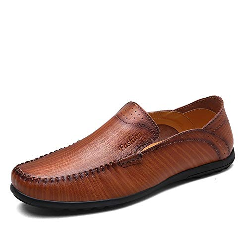 Suela Cuero Mocasines Moda Genuino para de Respirable de Blanda Rojo conducción de Hombres Zapatos de qT7BUz1wcw