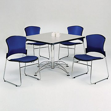 Breakroom Set - Four Armless Fabric Stack Chairs and 42