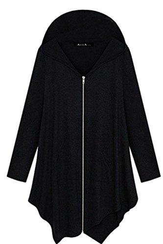 Women Plus Size Hooded Sweatshirt Jacket Cape Style Black M (Swing Cape)