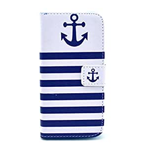 For iphone 6 ( 4.7inch ) Case, FocusUp Cool Navy Anchor Design Premium PU Leather Card Slot Flip Magnetic Closure Folio Stand Protective Wallet Cover For Apple iphone6 4.7 ""