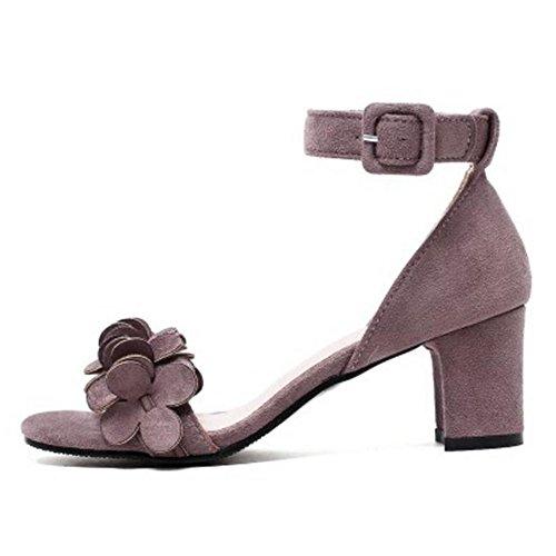 Coolcept Women Fashion Ankle Strap Sandals Block Heel Purple RqoF03FPl
