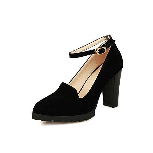 Amoonyfashion Da Donna Imitato In Camoscio Con Tacco Alto A Punta Chiusa Con Fibbia In Piega Pompe-scarpe Nere