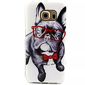 WQQ 20150511 Glasses Dog Pattern TPU Soft Case Cover for Samsung Galaxy S6 edge