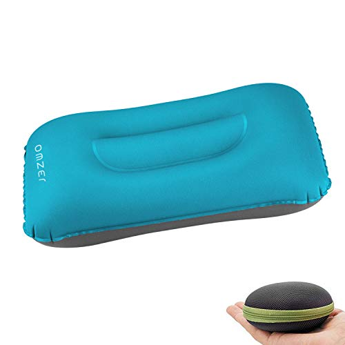 OMZER Inflatable Travel Camping Pillow, Backpacking Pillow Portable Compressible Pillow for Neck and Lumbar Support, Outdoor Hiking, Backpacking, Airplane, Car, Office Sleeping