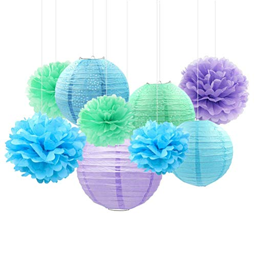 LQT Ltd 9Pcs/Set Mermaid Pom Pom Flowers Paper Lantern for Wedding & Engagement Birthday Party Valentine's Day Party Decaration ()