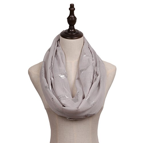 Missshorthair LightWeight Infinity Scarfs for Women Print Silver Foil (Feather Print Scarf)