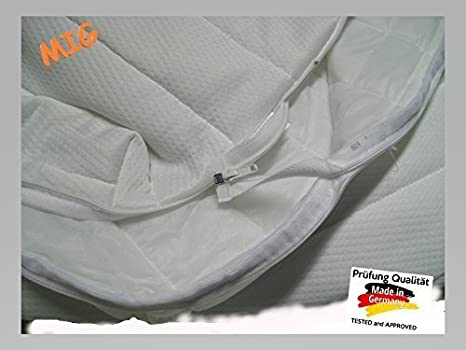Ola Cubierta de colchón apto para alérgicos con 4-seitigem Cremallera MIG, fundas de colchones, cubierta de colchón 80x190, altura para 19 HASTA 22 cm: ...