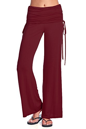 Ruched Leg Pant - Beachcoco Women's Fold Over Ruched Wide Leg Pants (S, Burgundy)