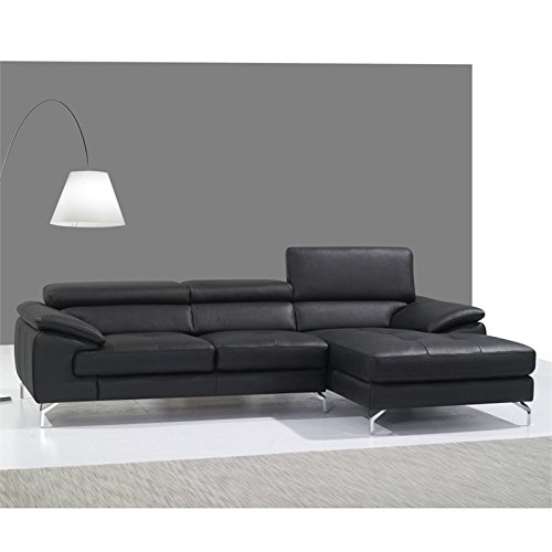 JM Furniture A973B Leather Right Mini Sectional in Black