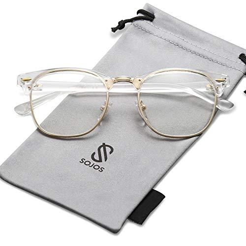 SOJOS Semi Rimless Eyewear Frame Clubmaster Eyeglasses Half Horn Rimmed Glasses SJ5018 with Transparent Frame/Gold Rim/Clear Lens