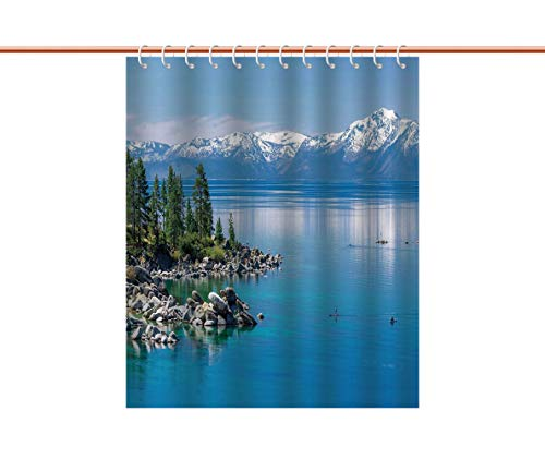 Curtain [ Landscape,Blue Waters of Lake Tahoe Snowy Mountains Pine Trees Rocks Relax Shore,Light Blue Green Grey ] Waterproof Bathroom Shower Curtains Deasign ()