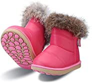 YUHUAWYH Toddler Snow Boots for Girls Boys Waterproof Walking Shoes Winter Warm Outdoor Shoes Kids Button Boot
