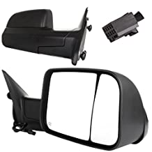 Scitoo Driver+Passenger Black Power Heated Side View Mirrors For 2010 2011 2012 Dodge Ram 1500 2500 3500 Pickup Towing Pair Set