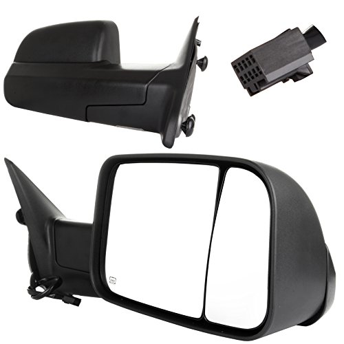 SCITOO Towing Mirrors fit 2009-2016 Ram 1500 2500 3500 Pickup Towing Pair Set Driver Passenger Black Power Heated Side View Mirrors