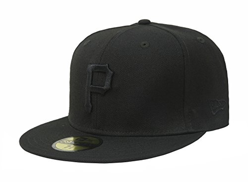 (MLB Pittsburgh Pirates Black on Black 59FIFTY Fitted Cap, 7 5/8)